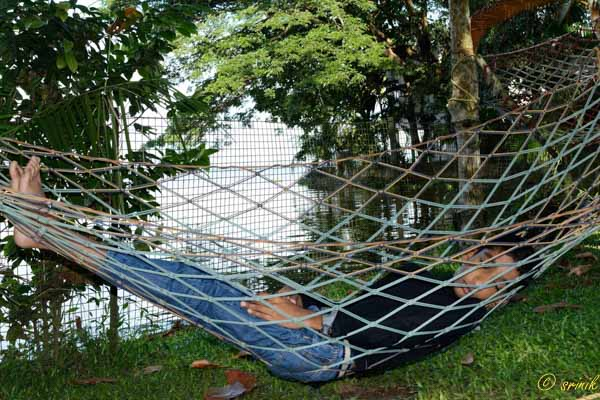 hammock on the banks of Vembanad Lake